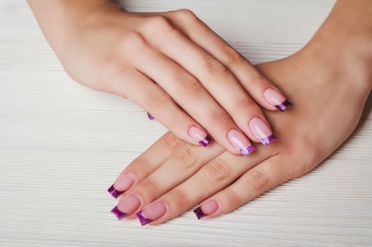 French nail art in purple color