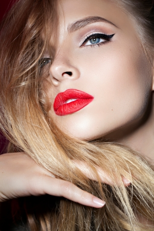 beautiful blond girl with red lips
