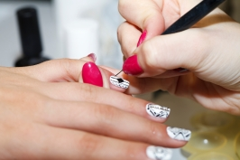 manicure process, gel nail, close-up,