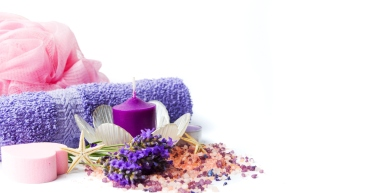 Lavender flowers and wellness accessories